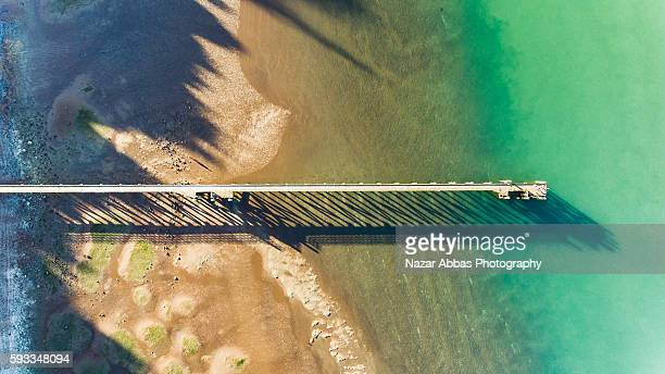Aerial view of Cornwallis Wharf, Auckland New Zealand