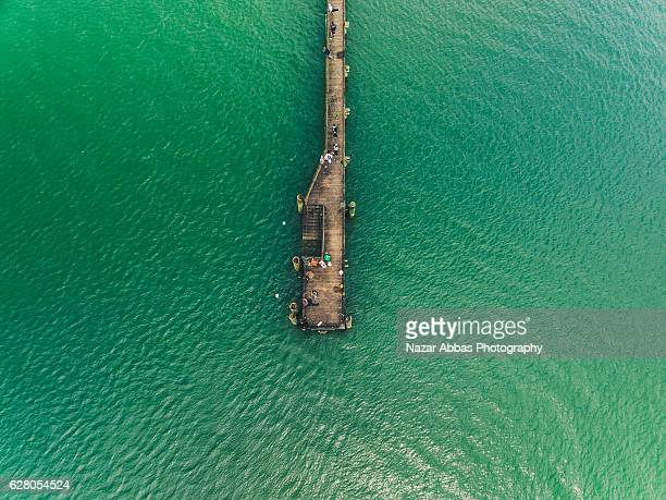 Aerial View of Cornwallis Wharf, Auckland, New Zealand.