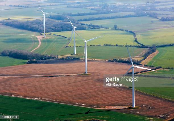 Aerial view of 'Cotton Mill' wind farm in Cambridgeshire