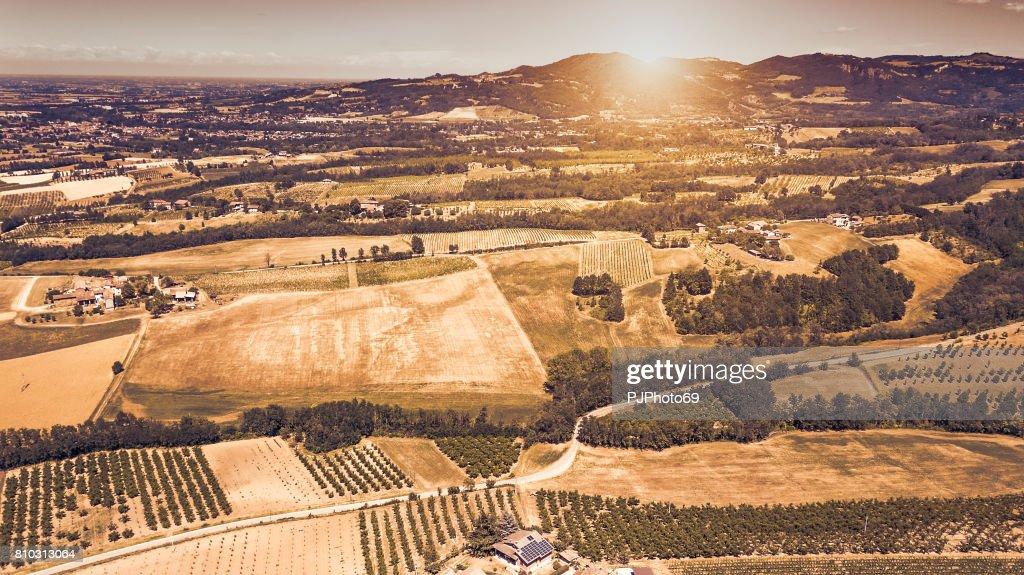Aerial view of country side in Piedmont at sunset - Italy : Stock Photo