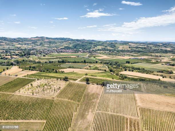 Aerial view of country side in Piedmont - Italy