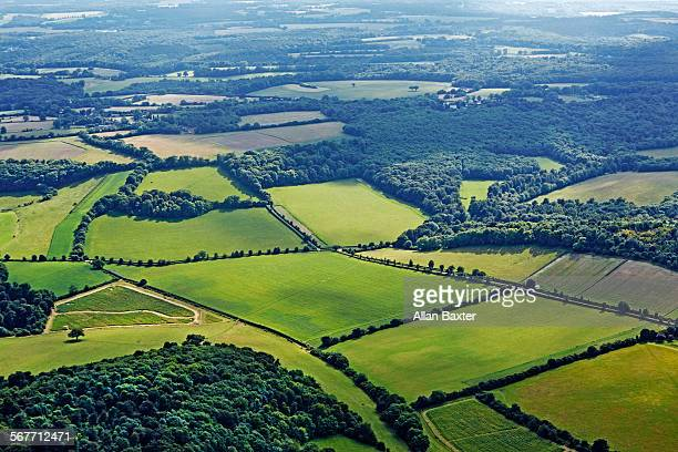 Aerial view of countryside in Chiltern Hills