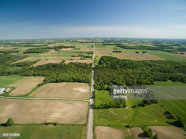 Aerial View of Countryside in Waterloo, Ontario