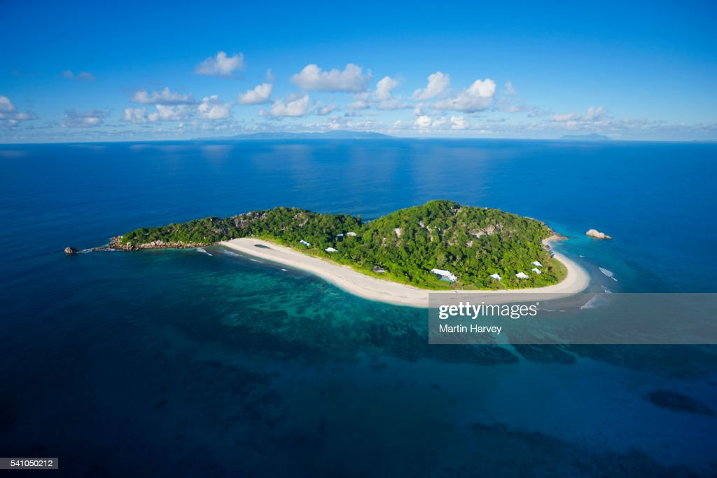 Aerial view of Cousine island.Seychelles : Stock Photo