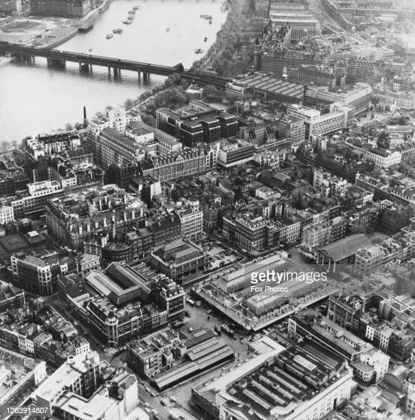 Aerial view of Covent Garden and the surrounding area, with the River Thames, Hungerford Bridge and Charing Cross railway station in the background,...