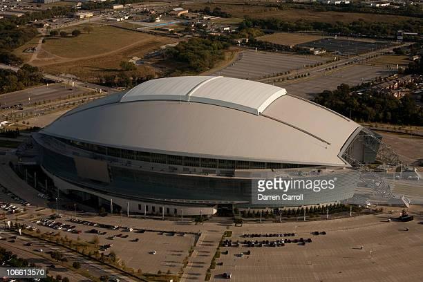 Aerial view of Cowboys Stadium on November 1 2010 in flight over Arlington Texas