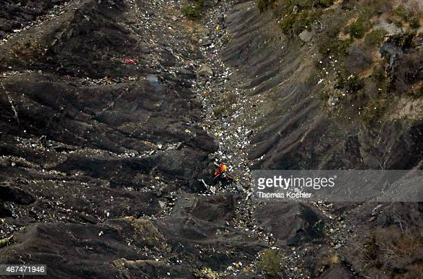 Aerial view of crash site of Germanwings Flight 4U9525 from Barcelona to Duesseldorf with 150 people on board in the French Alps on March 24 2015...