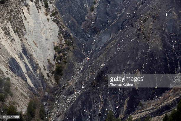 Aerial view of crash site of Germanwings Flight 4U9525 in Seyne Les Alpes on March 24 2015 in Seyne Les Alpes France German Foreign Minister...