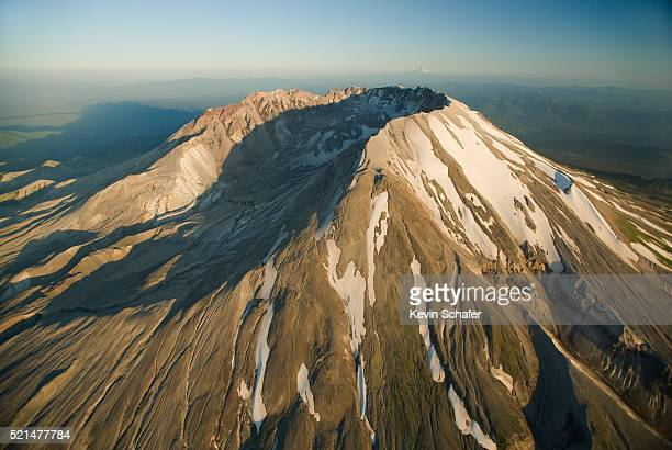 aerial view of crater, mt. st. helens, washington - mount st. helens stock pictures, royalty-free photos & images