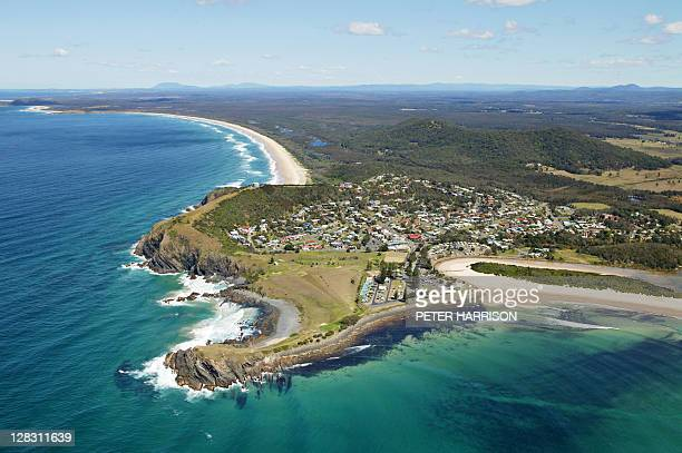 Aerial view of Crescent Head, mid north coast, NSW, Australia