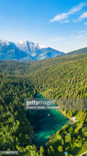 aerial view of crestasee lake, flims, switzerland - swiss alps stock pictures, royalty-free photos & images
