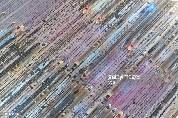 Aerial view of CRH bullet trains setting out ahead of Spring Festival travel rush on January 31 2018 in Hefei Anhui Province of China About 298...