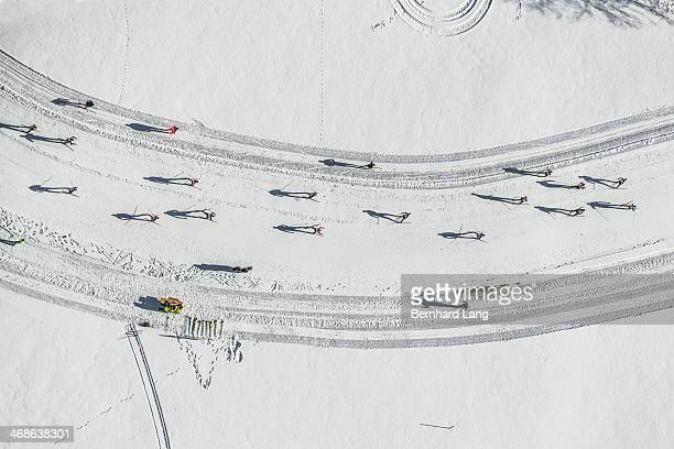 Aerial view of cross country skiers racing
