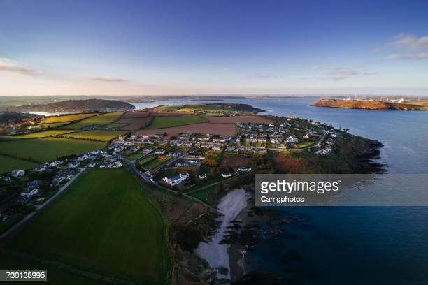 aerial view of crosshaven, cork harbor, ireland - county cork stock pictures, royalty-free photos & images