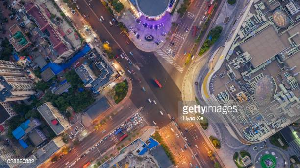 aerial view of crossroad - liyao xie stock-fotos und bilder