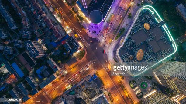 aerial view of crossroads - liyao xie stock-fotos und bilder