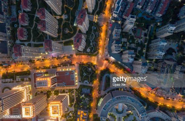 aerial view of crossroads - liyao xie stock pictures, royalty-free photos & images