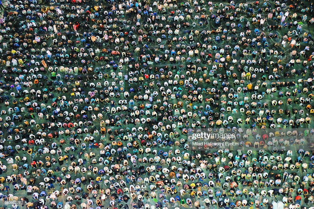 Aerial View Of Crowd At Mosque : Stock Photo