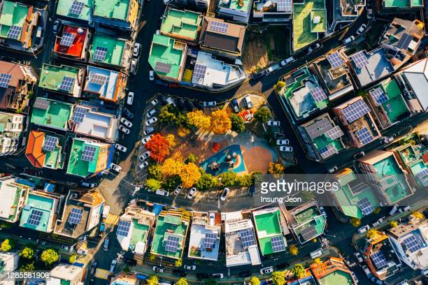 aerial view of crowded residential district in ulsan - ulsan - fotografias e filmes do acervo