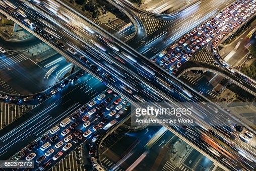 Aerial View of Crowded Traffic at Night