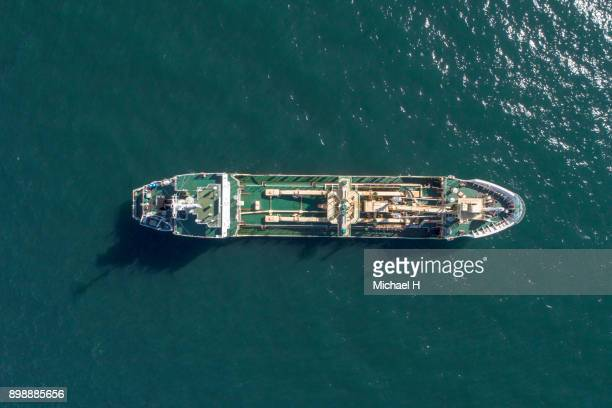 Aerial view of cruise boat