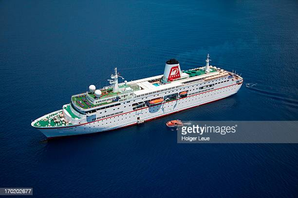 Aerial view of cruise ship MS Deutschland