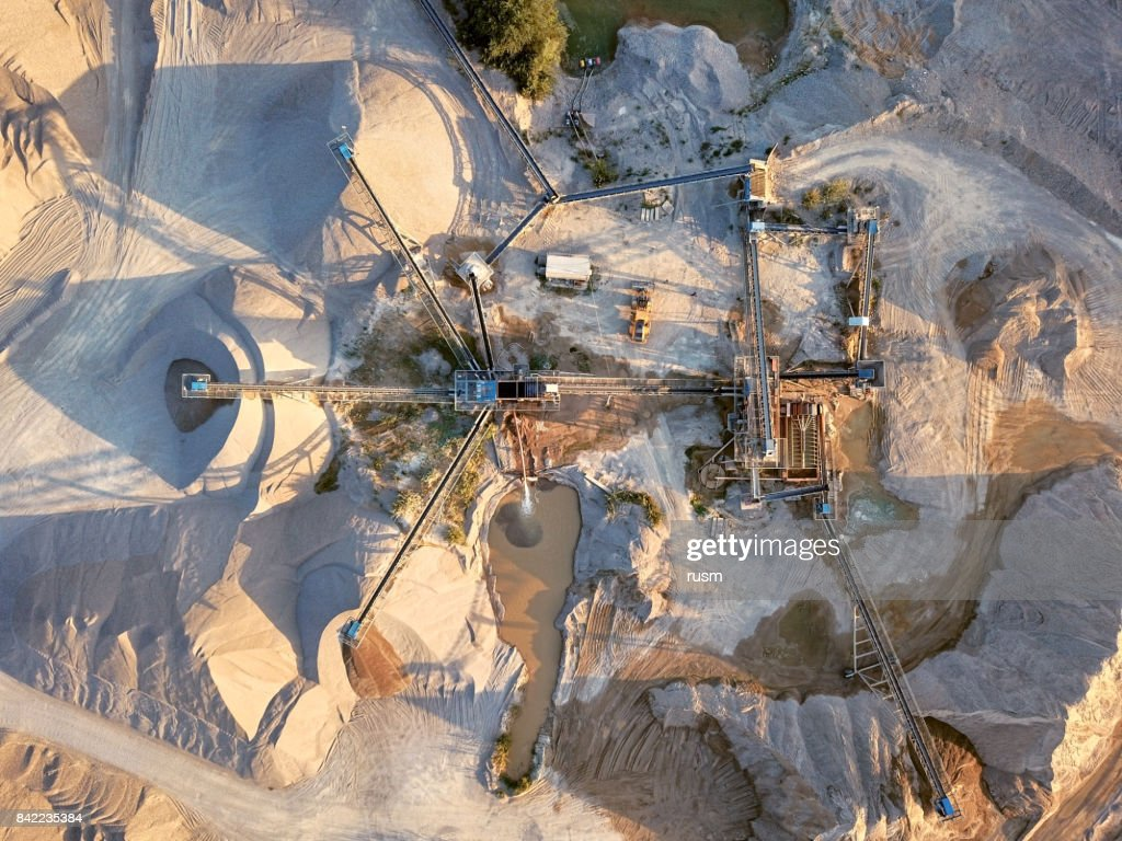 Aerial view of crushed stone quarry machine : Stock Photo