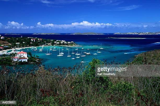 Aerial View of Cruz Bay Harbor