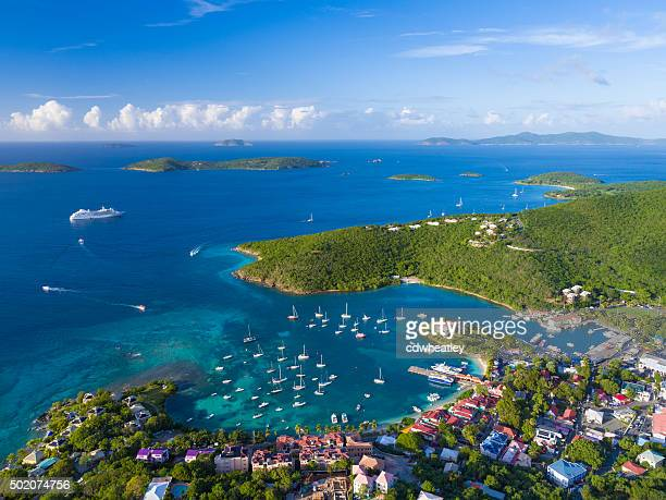 aerial view of Cruz Bay, St.John in US Virgin Islands