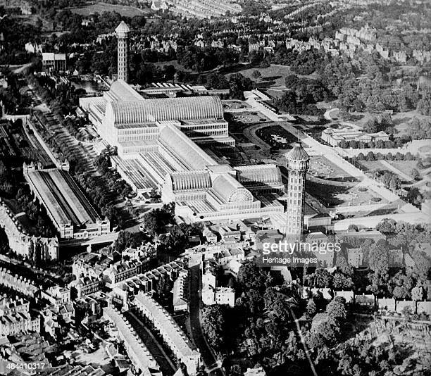 Aerial view of Crystal Palace at Sydenham Bromley London flanked by its two tall water towers c1925c1930 Designed by Sir Joseph Paxton for the Great...