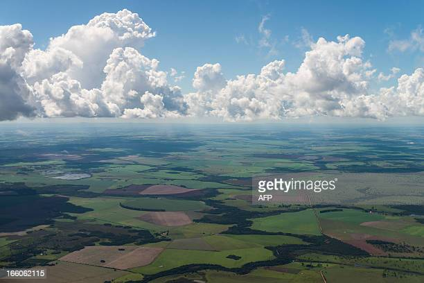Aerial view of cultivated fields near Campo Grande Mato Grosso do Sul state Brazil on April 1 2013 AFP PHOTO/Yasuyoshi CHIBA
