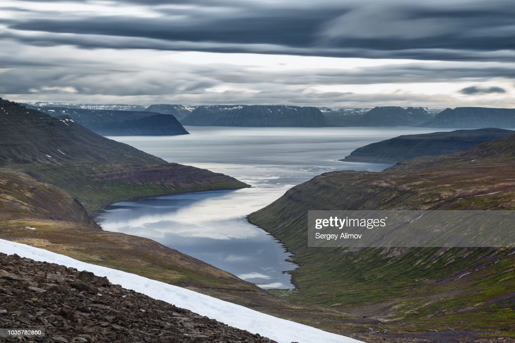 Aerial view of curved fjord in Hornstrandir nature reserve : Stock Photo