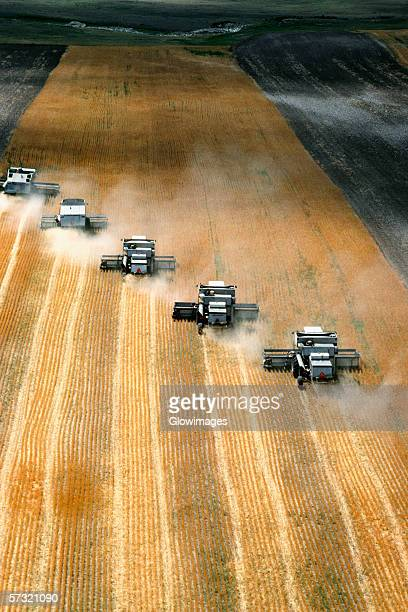 Aerial view of custom harvest combines harvesting wheat, five combines in a role, WY
