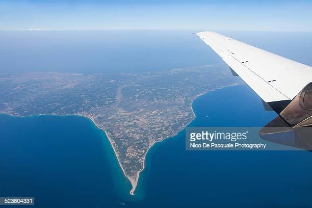 aerial view of cyclades islands - ver a hora stockfoto's en -beelden