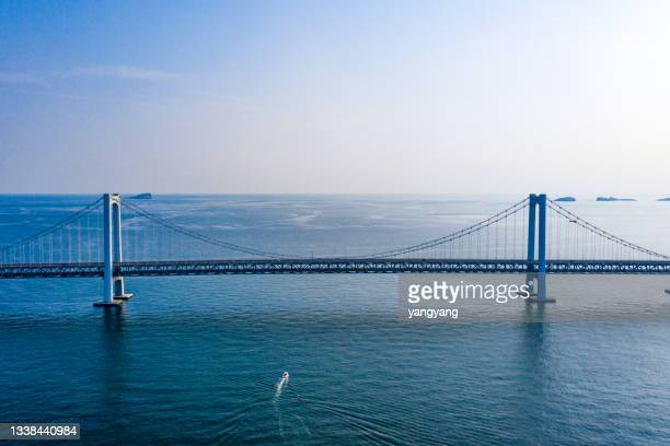 aerial view of dalian xinghaiwan bay - china east asia stock pictures, royalty-free photos & images