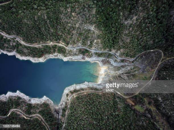 Aerial view of Dam in forest.