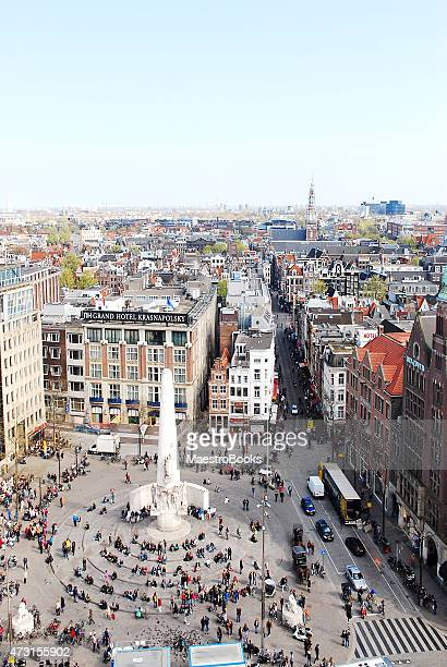 Aerial view of Dam Square in Amsterdam