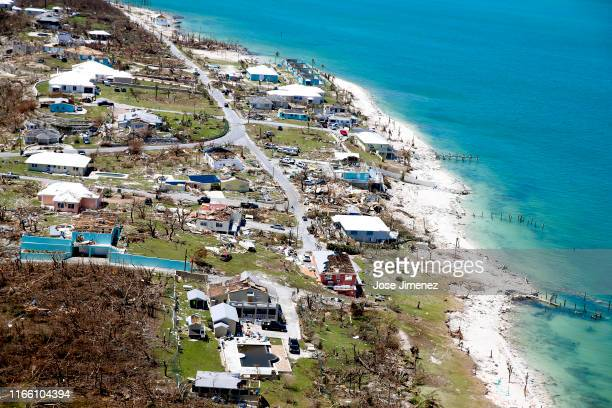 Aerial view of damage after Hurricane Dorian passed through on September 5, 2019 in Great Abaco Island, Bahamas. Hurricane Dorian hit the island...