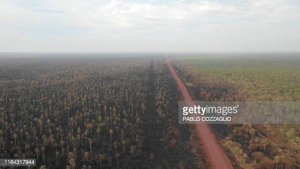 TOPSHOT Aerial view of damage caused by wildfires in Otuquis National Park in the Pantanal ecoregion of Bolivia southeast of the Amazon basin on...