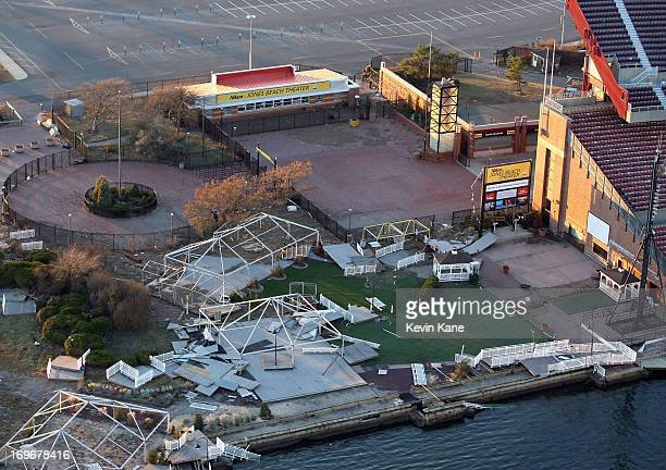 Aerial view of damage to the Nikon at Jones Beach Theater by super storm Sandy taken on November 6 2013 in Wantagh, New York.