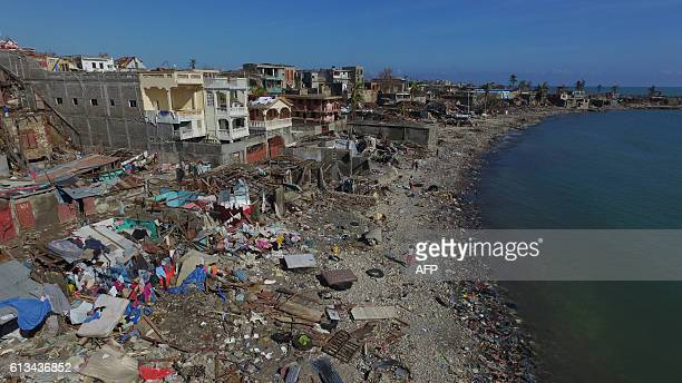 Aerial view of damages in small village of Casanette near Baumond Haiti on October 8 2016 after Hurricane Matthew passed the area The full scale of...