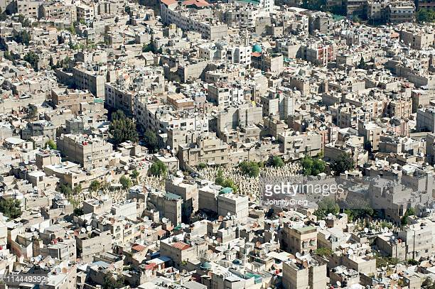aerial view of damascus (capital of syria ) - damascus stock pictures, royalty-free photos & images
