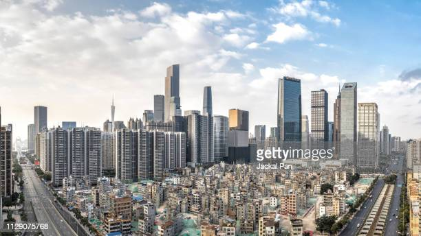 aerial view of demolishing urban village - 老朽化 ストックフォトと画像