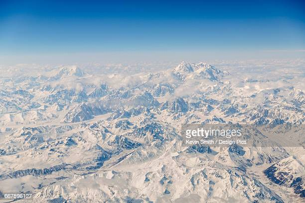 Aerial view of Denali and Mt. Foraker covered in snow, Alaska Range, Interior Alaska, USA, Winter