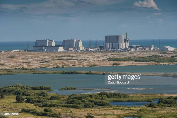 KINGDOM July 03 Aerial view of Denge Marsh with the Dungeness Nuclear Power Station in the background on July 03 2009 The twin reactor power plant is...