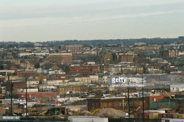Aerial view of densely populated neighborhoods with row houses on the outskirts of Newark New Jersey March 18 2018