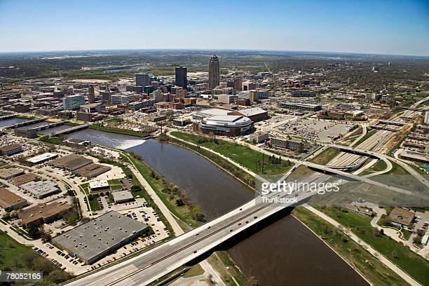 Aerial view of Des Moines River at Des Moines, Iowa