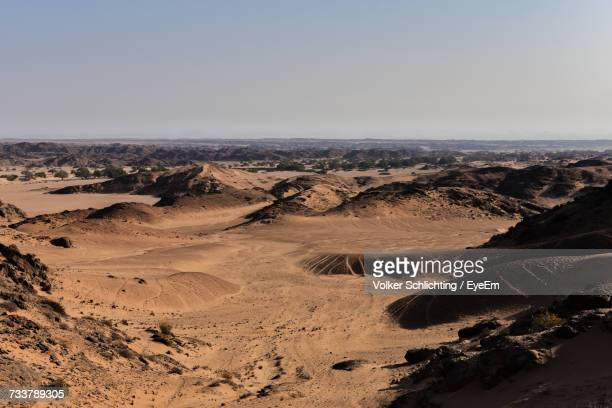 Aerial View Of Desert Against Clear Sky