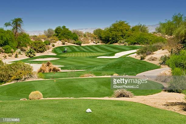 Aerial view of desert golf course at daytime