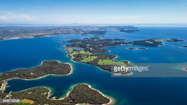 aerial view of desert islands, brijuni park, croatia - island stock pictures, royalty-free photos & images